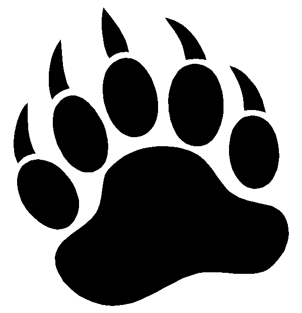 Grizzly Bear Paw Print Sticker Decal 6""