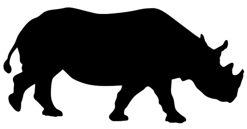 "Rhino Window Sticker Decal 6""h"